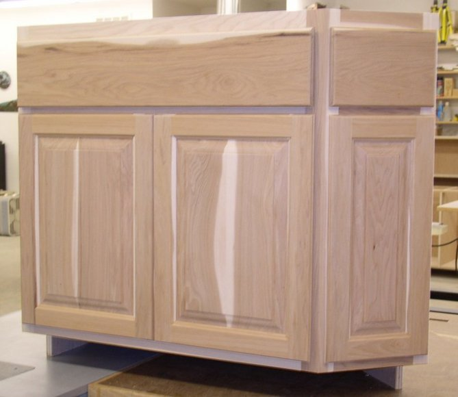 Hickory cabinets for Angled kitchen cabinets